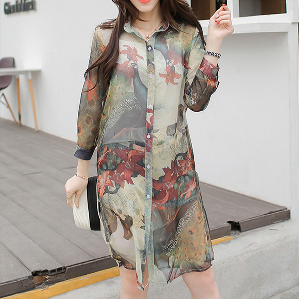 Thin Fabric Printed Floral Summer Wear Cardigan