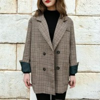 Formal Button Up Checks Print Outwear Coat