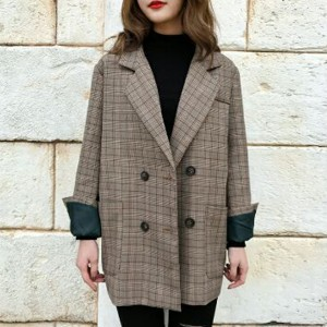 Formal Button Up Checks Print Outwear Coat