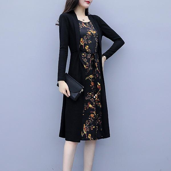 Floral Print Long Sleeves Round Neckline Dress - Black