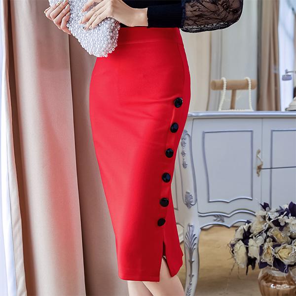 Button Decorative Split Hem Pleated Skirt - Red