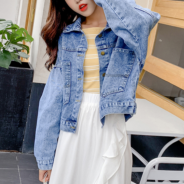 Printed Party Denim Casual Outwear Jacket