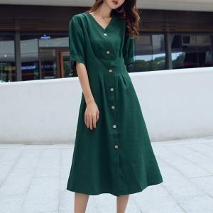 A-Line Pleated Short Sleeves Midi Dress