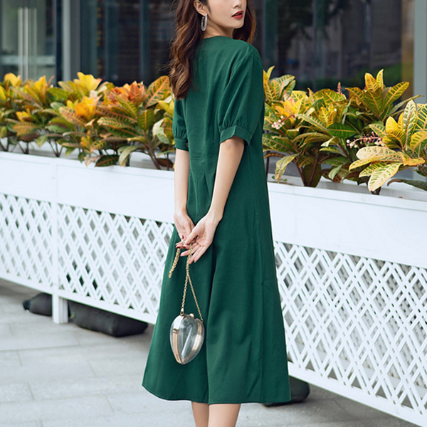 A-Line Pleated Short Sleeves Midi Dress