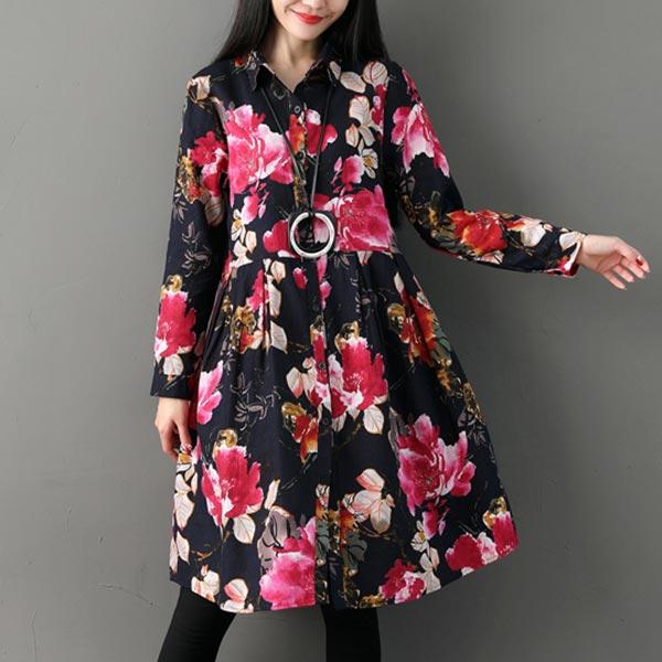 Floral Long-sleeved Loose Printed Women Dress - Black
