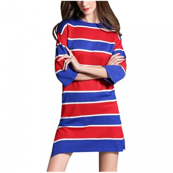 Three Quarters Striped Casual Thin Sweater Straight Lady Dress