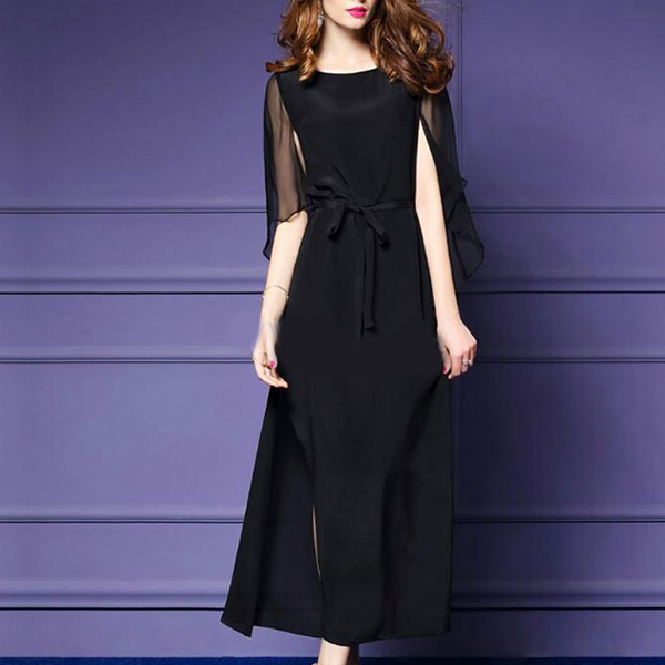 Flared Sleeves Chiffon Waist Band Long Party Dress