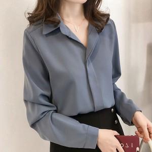 Chiffon Full Sleeves Collar Blouse Shirt - Blue