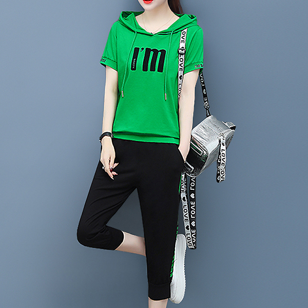 Hoodie Neck Sports Wear Two Pieces Suit - Green