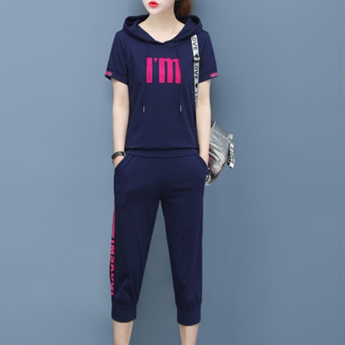 Hoodie Neck Sports Wear Two Pieces Suit - Blue