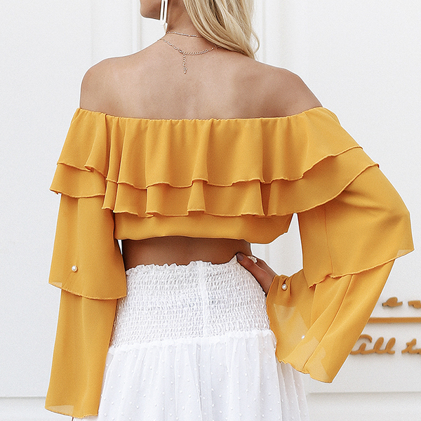 Pearl Decorated Lotus Sleeves Yellow Top