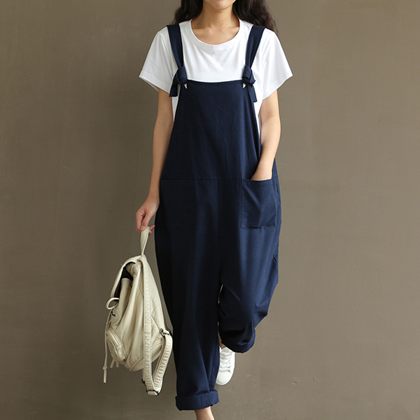 Baggy Fashion Knotted Strap Casual Bib Pants - Blue