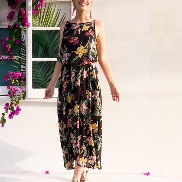 Floral Printed Strappy Shoulder Chiffon Maxi