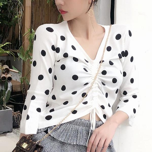 Polka Dots Print Bust String V Neck Shirt - White