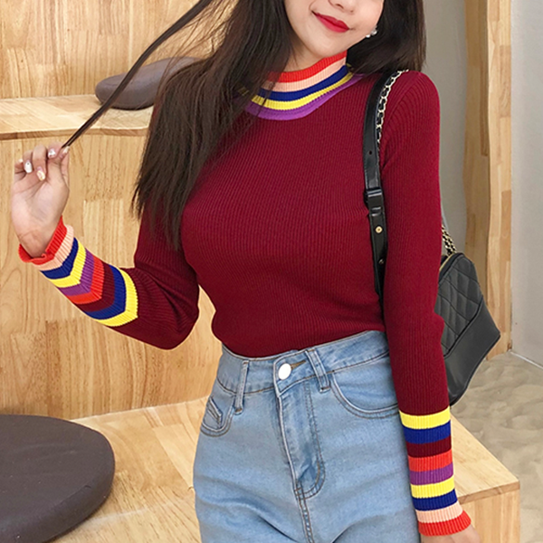 Stand Neck Colorful Stripes Full Sleeves Top - Burgundy