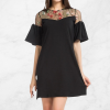 Net Embroidered Short Sleeves Black Mini Dress