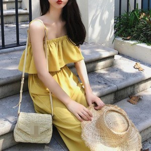 Strap Shoulder Flared Chest Full Length Romper - Yellow