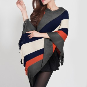 Shawl Neck Striped Tassel Winter Cloak - Multi Stripes