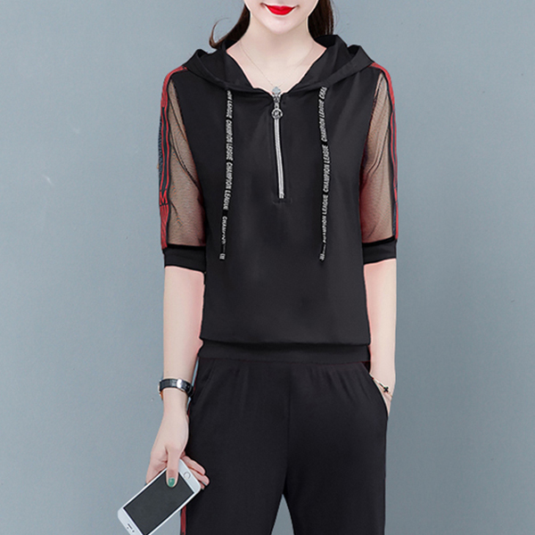 Sports Wear Two Pieces Hoodie Neck Suit - Black