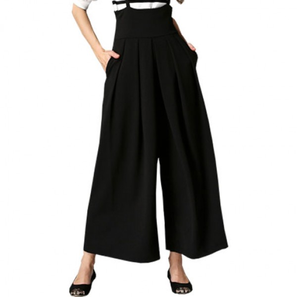 2016 Wide Leg Pants String Legs High Waist Casual Pants Black