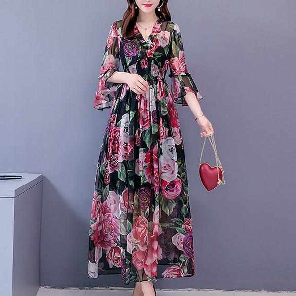 Chiffon Party Wear Rose Prints Dress - Black