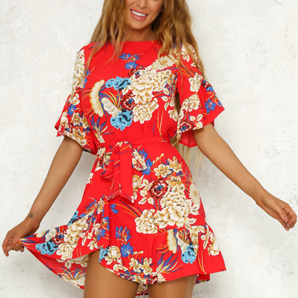 Floral Colorful Prints Flounce Mini Dress - Red