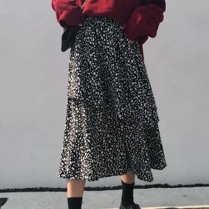 Printed Waist Elastic Summer Wear Skirt - Black