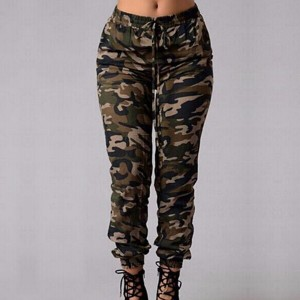 Elastic Waist Narrow Bottom Camouflage Trousers
