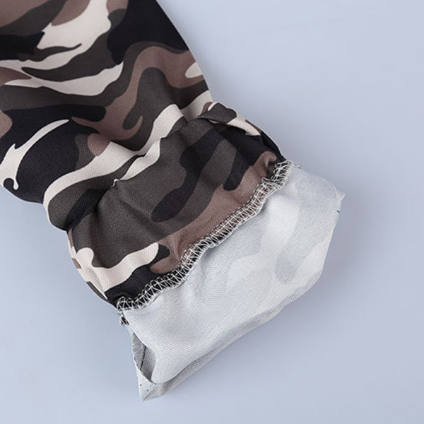 Elastic Waist Narrow Bottom Camouflage Trousers