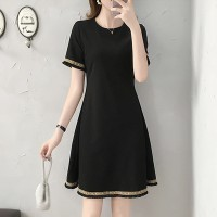 Round Neck Mini A-Line Formal Wear Solid Color Dress - Black