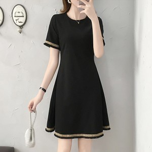 Round Neck Mini A-Line Formal Wear Solid Color Dress - Black