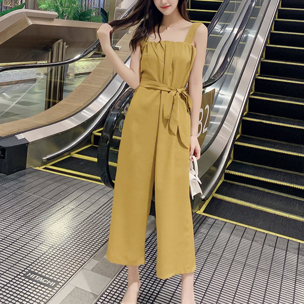 Strap Shoulder Elastic Bust Casual Long Romper - Yellow