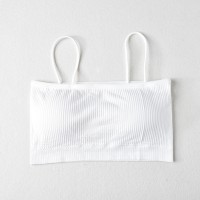 Women Spaghetti Strap Sleeveless Tube Ribbed Bra - White