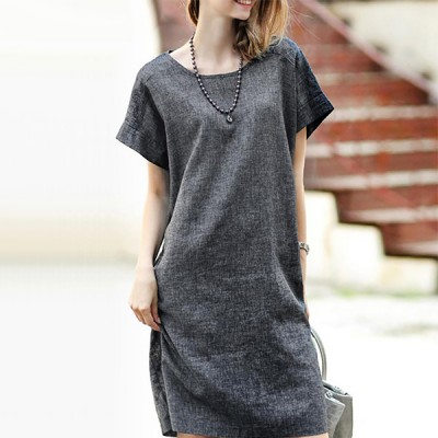 Summer Cotton Linen Women Short Sleeve O-neck Dress