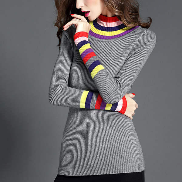 Colorful High Neck Ribbed Winter T-Shirt - Grey