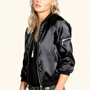 Women Black Satin Zipper Bomber Jacket Outwear