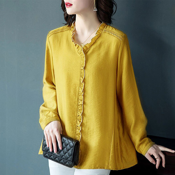 Party Ruffled Stand Neck Blouse Top - Yellow
