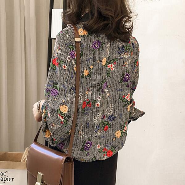 Floral Embroidery Formal Wear Blouse Shirt - Grey
