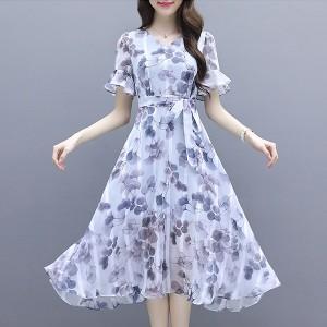 Leaves Print Chiffon Waist Band Midi Dress