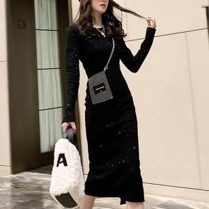 Straight Shiny Long Knit Back Split Women Dress - Black
