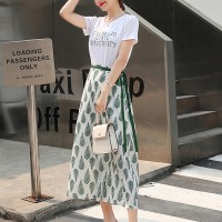 Two Pieces Round Neck Printed Skirt With T-Shirt - Green