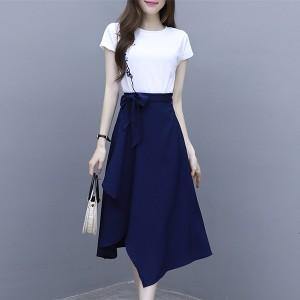 Floral Art T-Shirt Irregular Skirt Two Pieces Suit