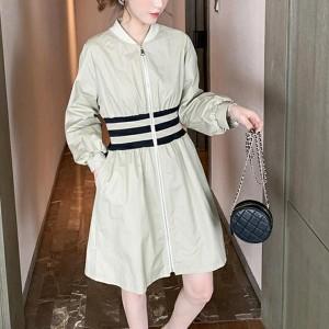 Long-sleeved High Waist A-line Women Dresses - Apricot