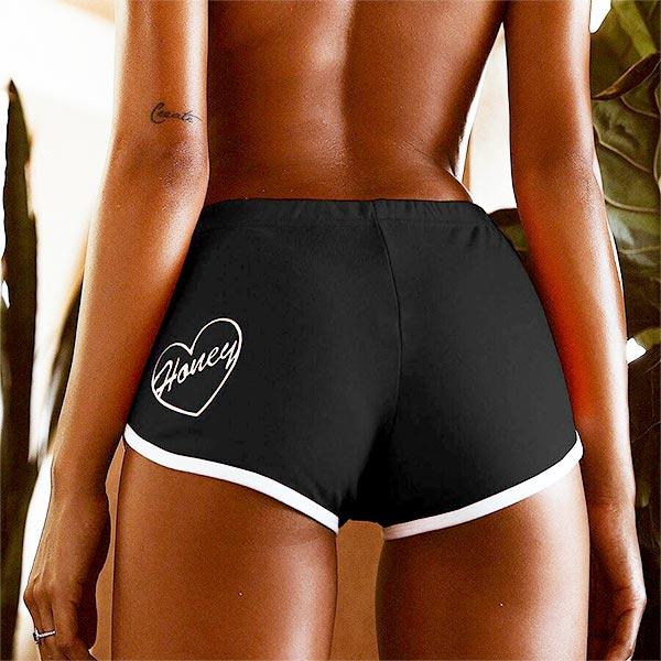 Push-up Stretch Elegant Exercise Soft Heart Shorts - Black