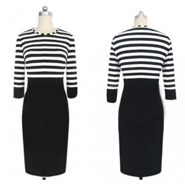 Graceful Striped O-neck Patchwork Mid-calf Bodycon Dress