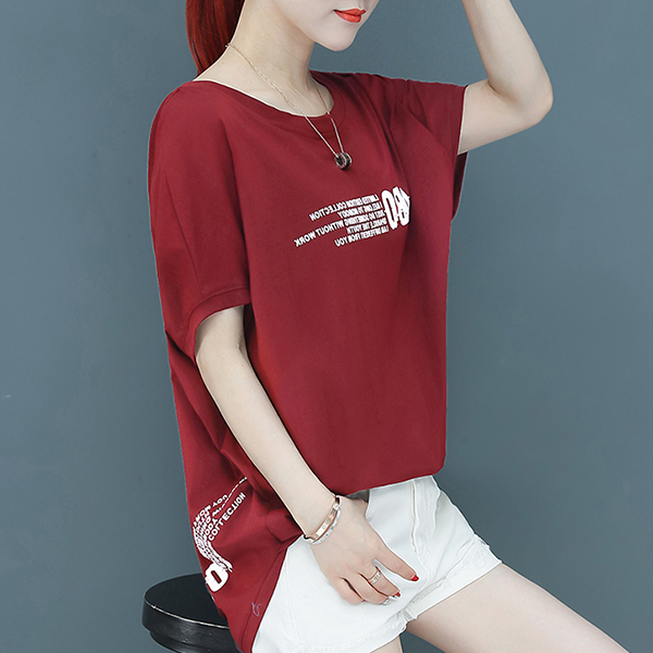 Bat Style Round Neck Text Prints T-Shirt - Red