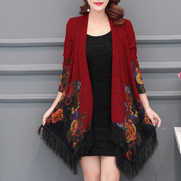 Boho Prints Tassel Printed Floral Cardigan - Wine Red