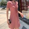 Drawstring Bust V Neck Mini Dress - Pink