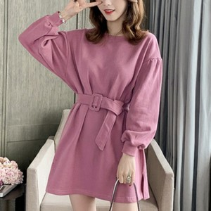 Round Neck Waist Belt Mini T-Shirt Dress - Pink