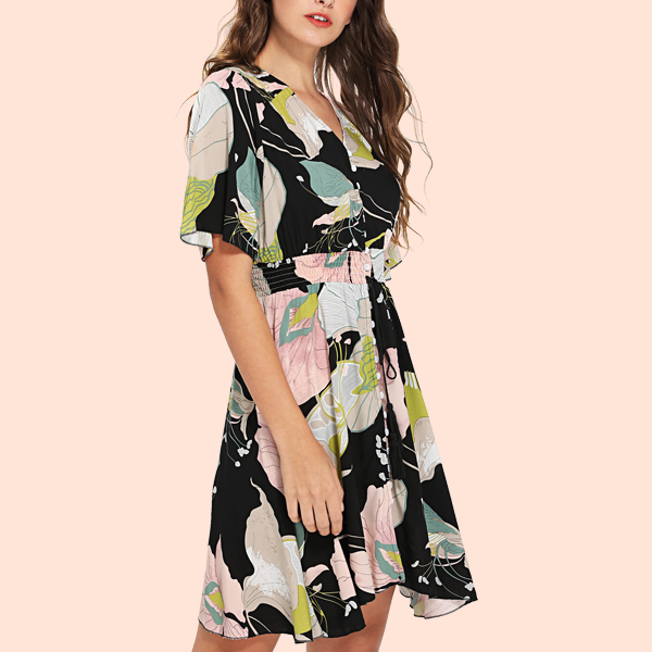 Floral Prints Short Sleeves Mini Party Dress - Multicolor